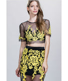 Sheer Floral Applique Crop Top Yellow
