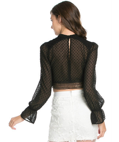 Sheer Dotted Blouse Black