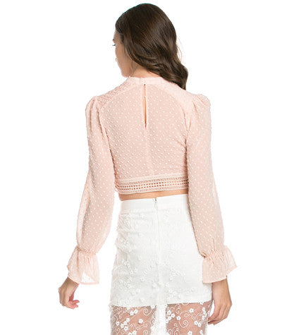 Sheer Dotted Blouse Pink