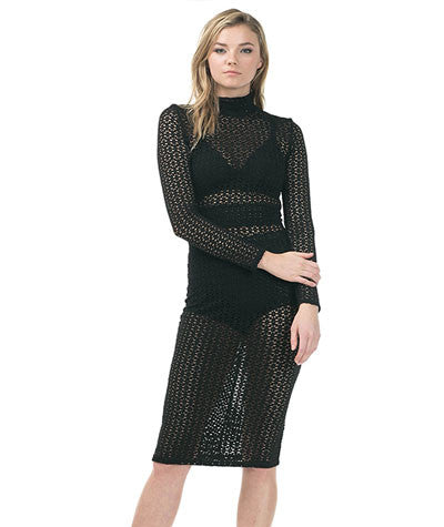 Sheer Mock Neck Dress