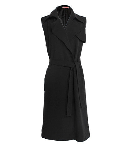 Sleeveless Belted Trench Black