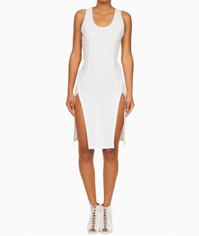 Sporty Midi Dress White