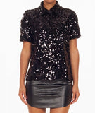 Square Sequins Shirt Black