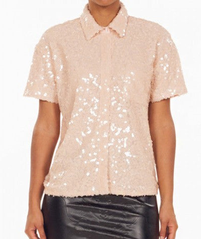 Square Sequins Shirt Peach