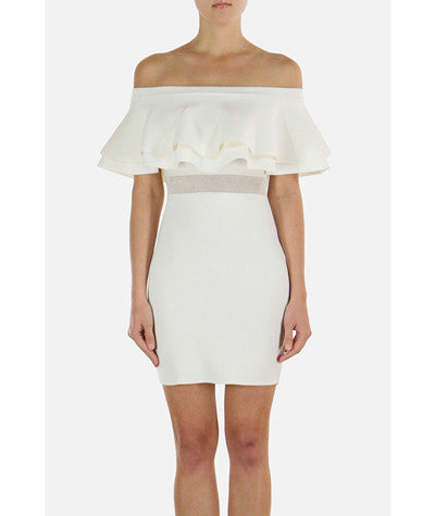 Strapless Ruffle Dress White