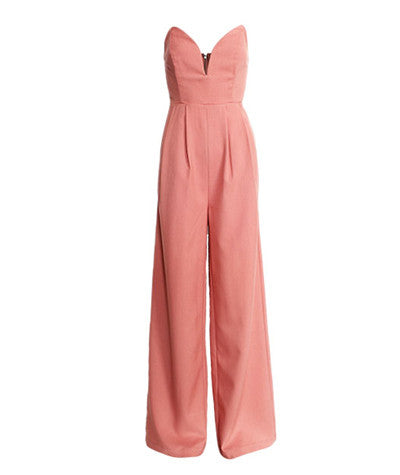 Strapless Wide Leg Jumpsuit Blush