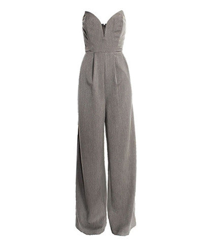 Strapless Wide Leg Jumpsuit Gray