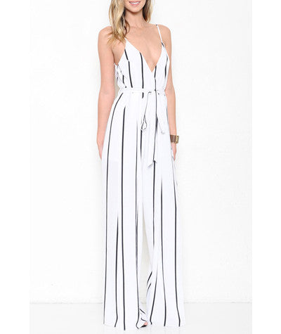 Striped Jumpsuit White