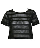Sheer Stripes Cropped Tee
