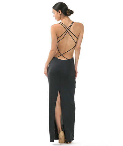Suede Strappy Back Dress Black