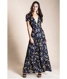 Tea Button Floral Maxi Dress