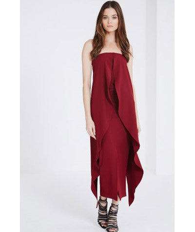 Tie Detail Maxi Pencil Skirt Bordeaux