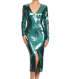 V Neck Sequins Dress Green