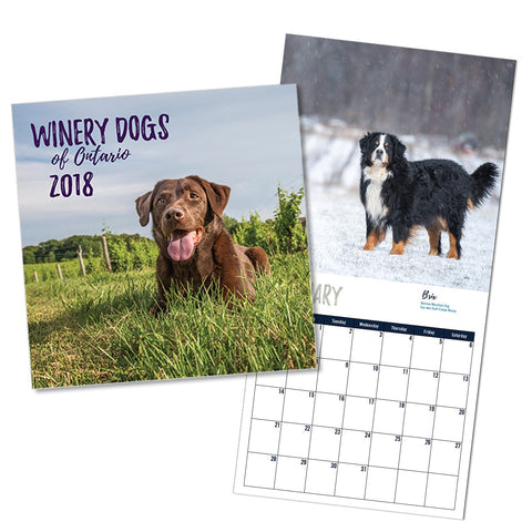 Winery Dogs Ontario 2018 Calendar $24.95+hst