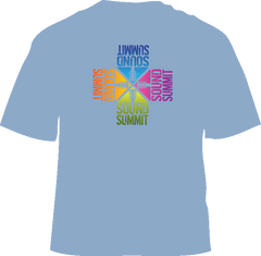 Sound Summit 4-Logo Men's Steel Blue T-Shirt