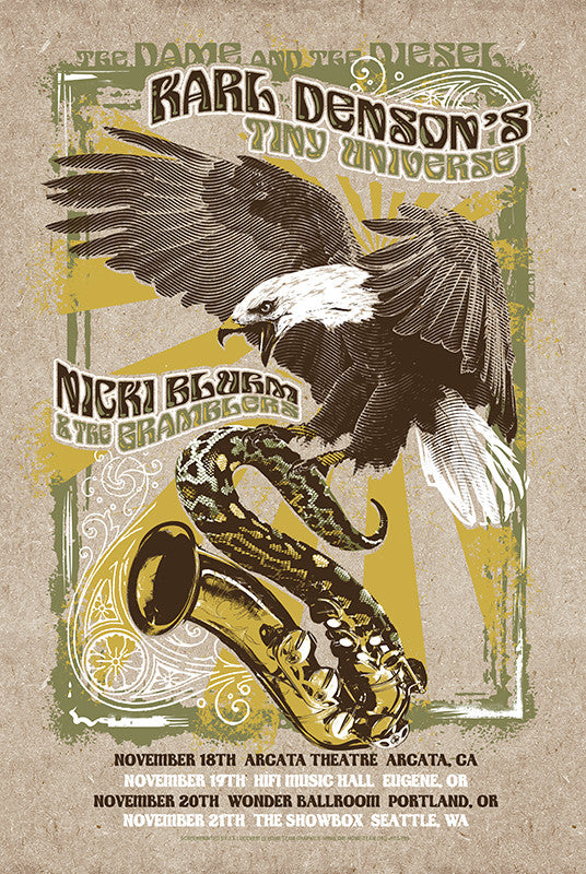 Nicki Bluhm & The Gramblers / Karl Denson's Tiny Universe Limited Edition Winter 2015 Poster