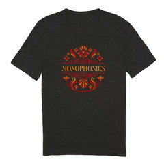 Women's 'Drum Head' Heather Black V-Neck T-Shirt