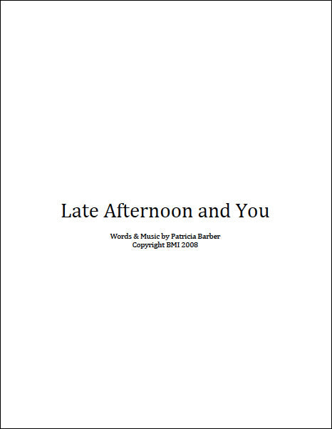 "Patricia Barber ""Late Afternoon And You"" Sheet Music DIGITAL"