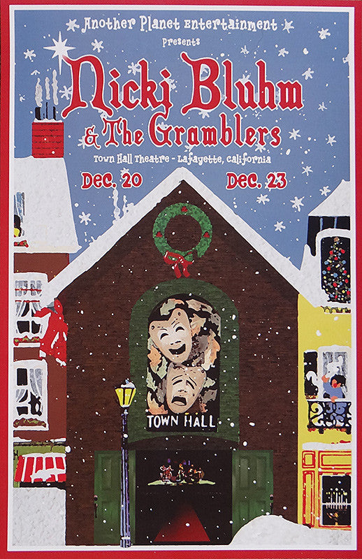 Nicki Bluhm & The Gramblers Limited Edition Lafayette Town Hall Theater Holiday Poster