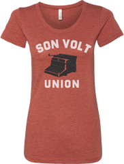 SON VOLT - Women's Red Union Typewriter T-shirt