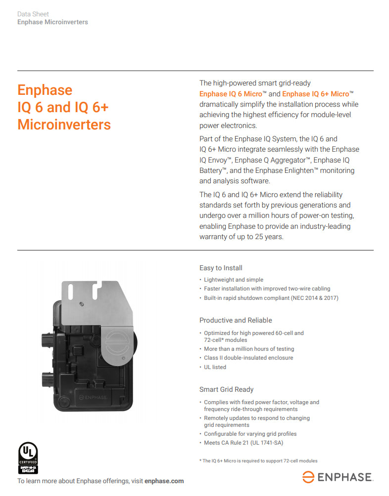 Enphase IQ6 Microinverter Data Sheet