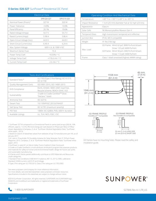 Sunpower E20 Series Data Sheet Page 2 Treepublic Solar