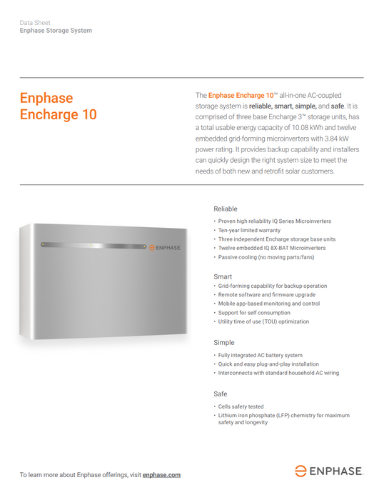 Enphase Encharge 10 Li-Ion Battery Storage System 10kWh ENCHARGE-10-1P-NA