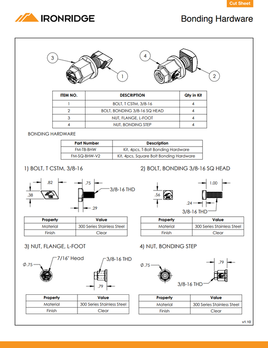 IronRidge Square-Bolt and Nut L-Foot Bonding Hardware BHW-SQ-02-A1 treepublic solar data sheet
