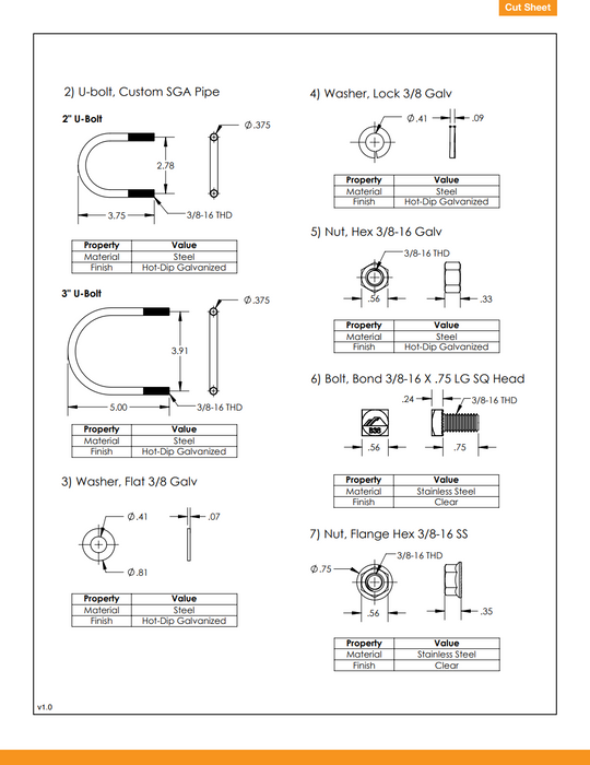 "IronRidge GM-BRC-002 ground mount bonded 2"" rail connector data sheet page 2"