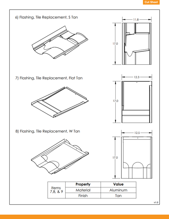 IronRidge Tile Replacement Flashing Tan Flat KOF-F01-T1 Treepublic Solar data sheet page 3