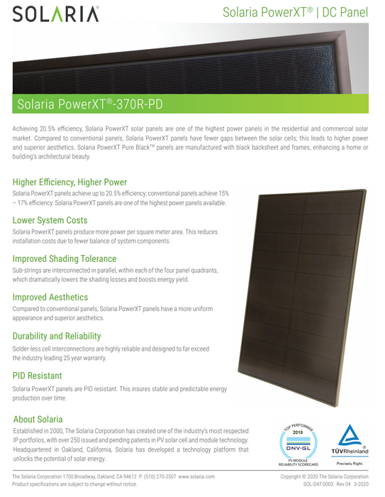 Solaria POWERXT-365R-PD BOB Solar Panel 365W Data Sheet Page 1