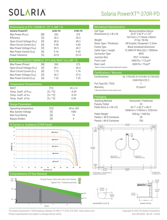 Solaria POWERXT-365R-PD BOB Solar Panel 365W Data Sheet Page 2