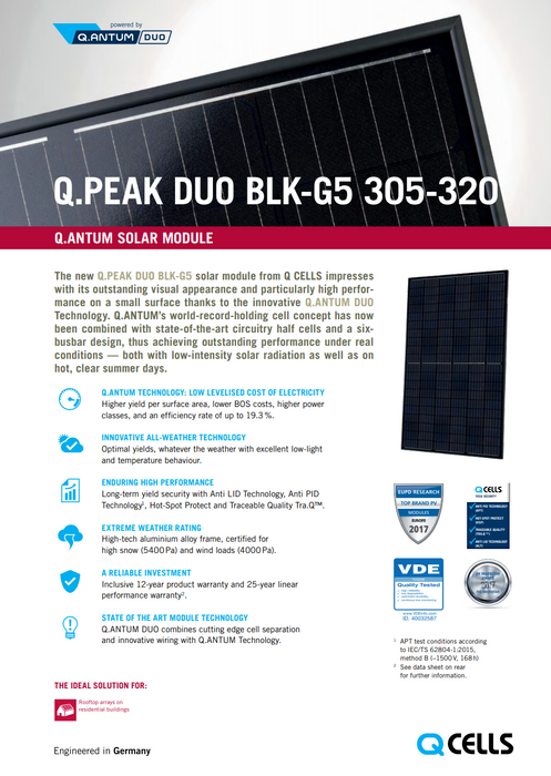 Hanwha Q CELLS 315Q.PEAK-DUO G5 315W BOB Data Sheet Page 1 Treepublic Solar Installers