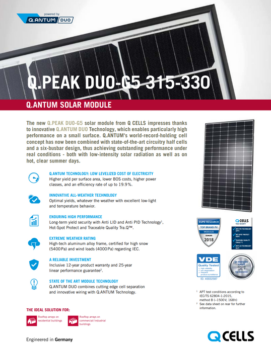 Hanwha Q CELLS 325Q.PEAK-DUO G5 325W BOW Data Sheet Page 1 Treepublic Solar Installers