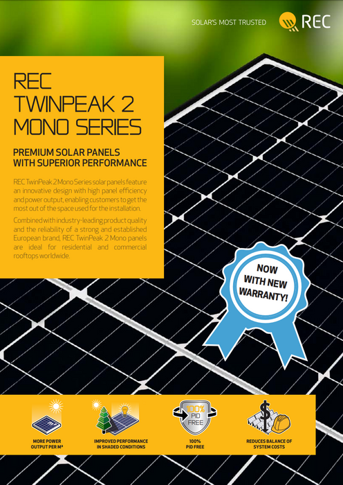 REC TwinPeak 2 Mono Solar Panel 310W Treepublic Solar REC310TP2M Data Sheet Page 1