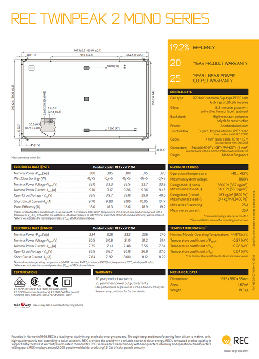 REC TwinPeak 2 Mono Solar Panel 315W Treepublic Solar REC315TP2M Data Sheet Page 2