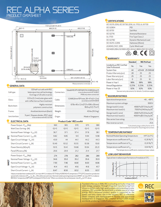 REC Alpha X Series 365W Panel REC365AA BOW Data Sheet Page 2 Treepublic Solar Installers