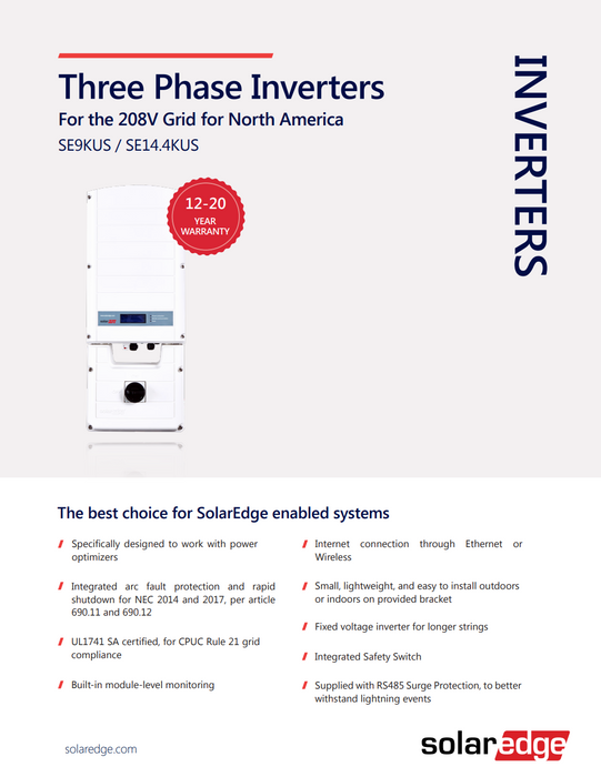 SolarEdge 3-Phase Grid-Tie Inverter Solar Power Inverter SE9kUS-208 Data Sheet Page 1 Treepublic Solar