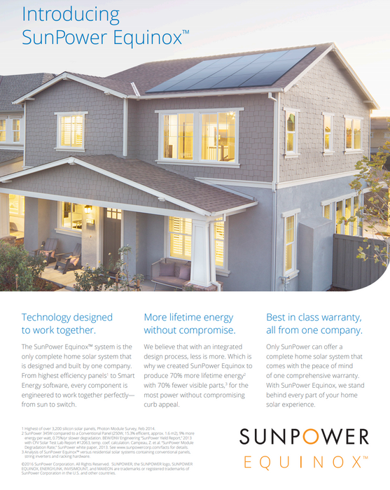Sunpower E20 Series 327W BOW Residential AC Solar Modules Equinox & Invisimount Monitoring & Racking Data Sheet Page 1 Treepublic Solar