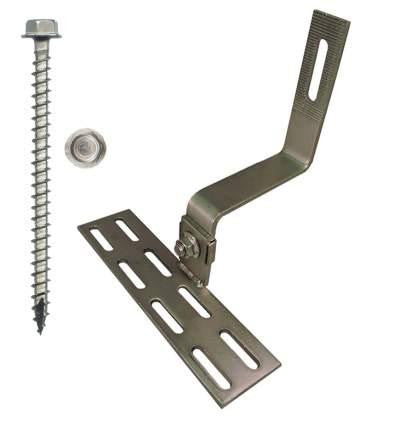 "SolarRoofHook 90° Spanish Tile Roof Hook, 23mm Height Adjustment Range, Kit with #14 x 3"" Solar Mounting Screws"