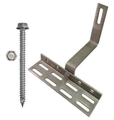 "SolarRoofHook 90° Spanish Tile Roof Hook with Slots & Wide Base, 5mm Height Adjustment Range, Kit with 5/16"" x 3"" Solar Mounting Screws"