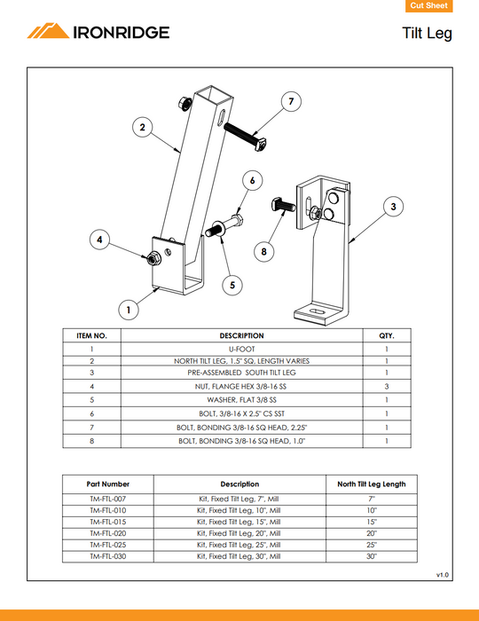 "IronRidge Fixed Tilt Leg Fixed Tilt Leg Mount 20"" TM-FTL-020 Treepublic Solar Data Sheet Page 1"