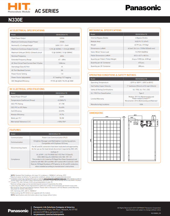 Panasonic HIT+ VBHN330SA17E 330W Solar Panel BOW Enphase IQ7X Energized Data Sheet Page 2 Treepublic Solar Installers