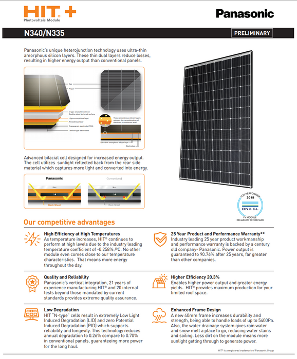 Panasonic HIT+ VBHN335SA17 335W Solar Panel BOW Data Sheet Page 1 Treepublic Solar Installers