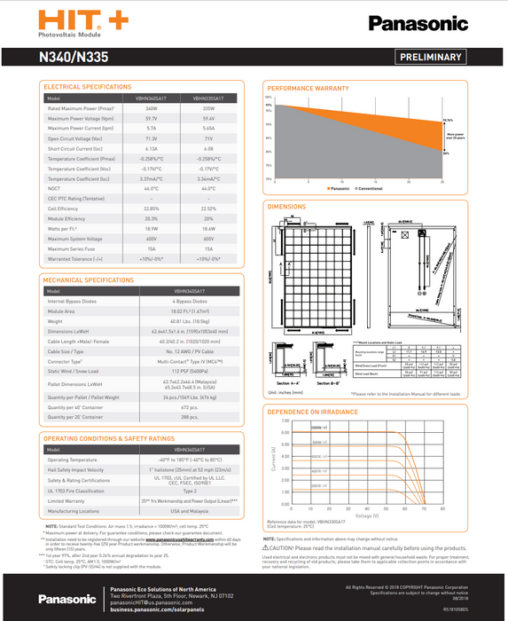 Panasonic HIT+ VBHN340SA17 340W Solar Panel BOW Data Sheet Page 2 Treepublic Solar Installers