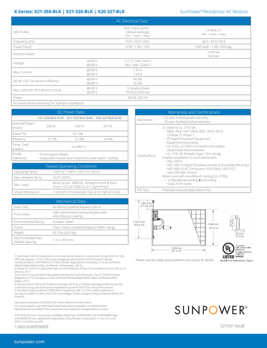 Sunpower X21 Series Data Sheet BOB 350W Page 2 Treepublic Solar
