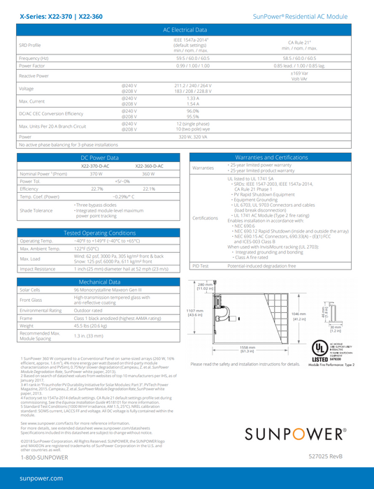 Sunpower X22 Series Data Sheet Page 2 Treepublic Solar