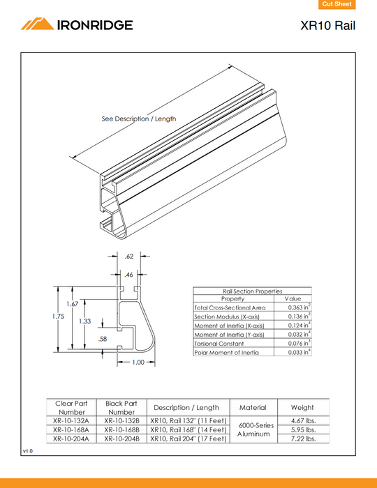IronRidge XR-100 Rail Clear Anodized [Single Rail] data sheet