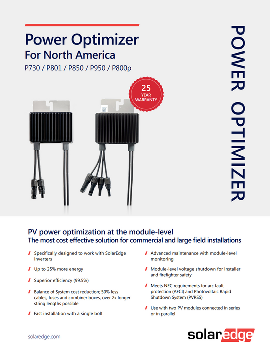 SolarEdge Power Optimizer 730W Solar Energy Power Optimizer P730W Data Sheet Page 1 Treepublic Solar