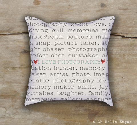 I Love Photography Pillow